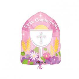 Globo helio comunión rosa