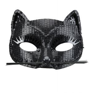 Antifaz gato lentejuelas negras