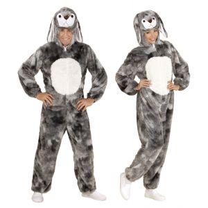 Disfraz conejor gris peluche adulto