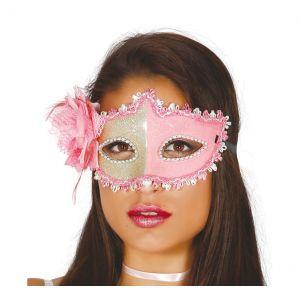 Antifaz rosa glamour