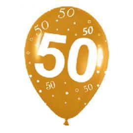 Globos numero 50 oro 12 und