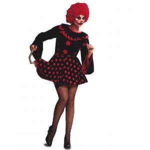 Disfraz payasa diabolica topo rojo