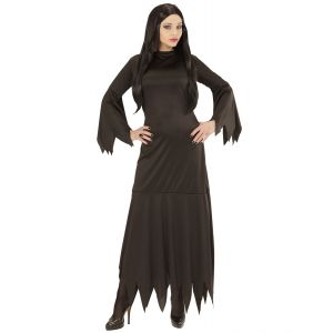 Disfraz morticia negra adulto