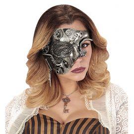 Mascara media cara steampunk plata