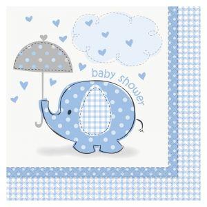 Servilletas elefante azul baby 16 und