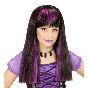 Peluca bruja mechas violetas infantil