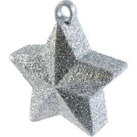 Peso saquito estrella purpurina plata