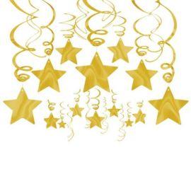 Decoracion estrellas colgantes doradas
