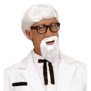 Peluca blanca con barba