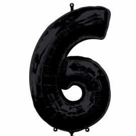 Globo helio número 6 negro
