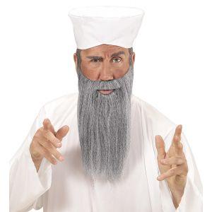 Set arabe turbante blanco y barba gris