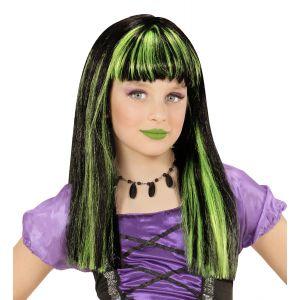 Peluca bruja mechas verdes infantil