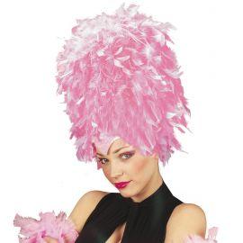 Tocado con plumas rosa
