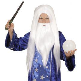 Peluca mago con barba infantil