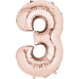 Globo helio numero 3 rosa dorado