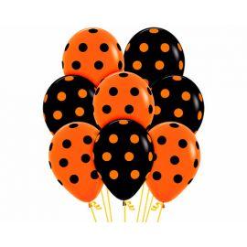 Globos negros y naranjas puntos