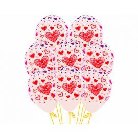 Globos transparentes corazones tres tint