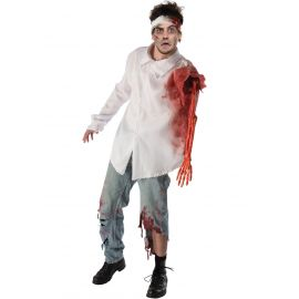 Disfraz atacado por zombie