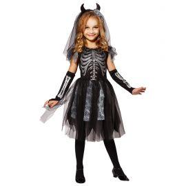 Disfraz esqueleto novia infantil