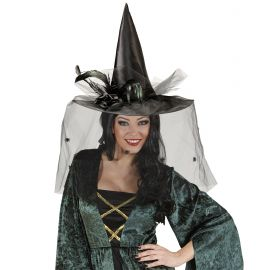 Sombrero bruja negro con velo