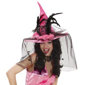 Sombrero bruja rosa con velo