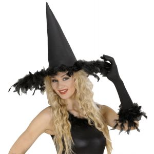 Sombrero bruja negro con plumas