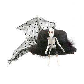 Sombrero mini esqueleto con tul
