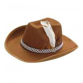 Sombrero vaquero pluma inf marron