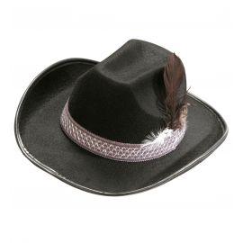 Sombrero vaquero inf plumas negro