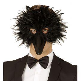 Antifaz plumas pajaro negro