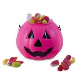 Calabaza porta caramelos rosa