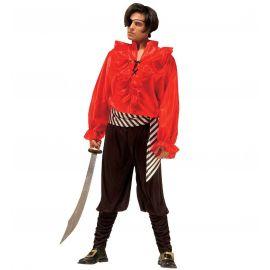Disfraz pirata rojo y negro adulto