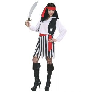 Disfraz piratesa blanco negro adulto