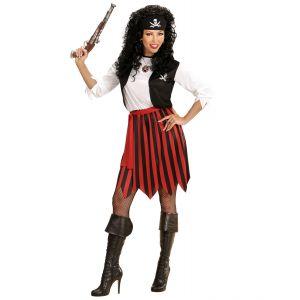 Disfraz piratesa rojo negro adulto
