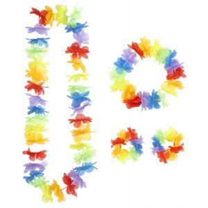 Kit hawaiana multicolor 4 piezas