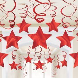 Decoracion colgante estrellas rojas