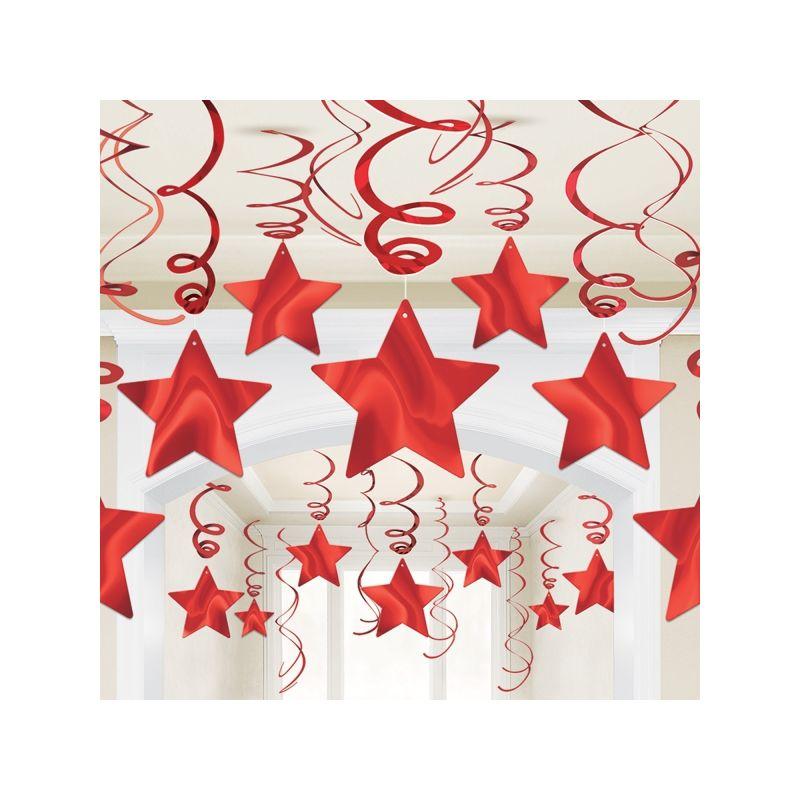 Decoracion estrellas colgantes rojas for Decoracion con estrellas