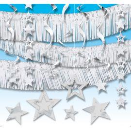 Kit decoracion colgante estrellas plata