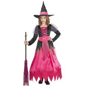 Disfraz bruja rosa aro