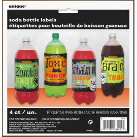 Etiquetas halloween monster botellas