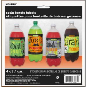 Etiquetas halloween monster botellas