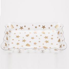 Bandeja estrellas oro 20x30cm