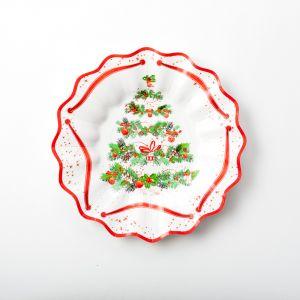 Platos arbol de navidad postre 8und