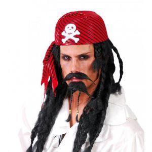 Sombrero pirata casco rojo negro