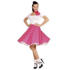 Set falda y pañuelo rosa lunares blancos