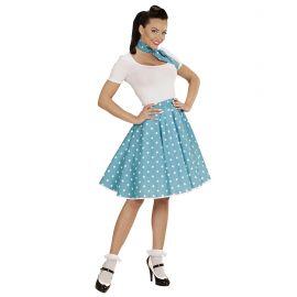 Set pañuelo y falda azul lunares blancos