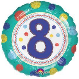 Globo helio circulo numero 8