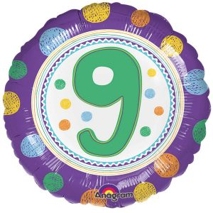 Globo helio circulo numero 9