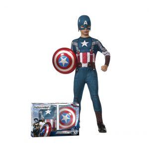 Disfraz Capitan America con escudo niños de 3 a 8 años