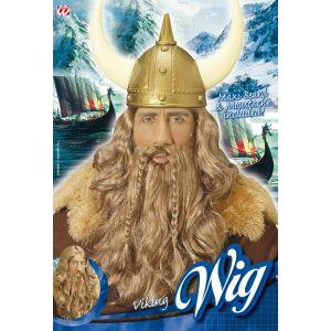 Peluca vikingo con barba y bigote deluxe